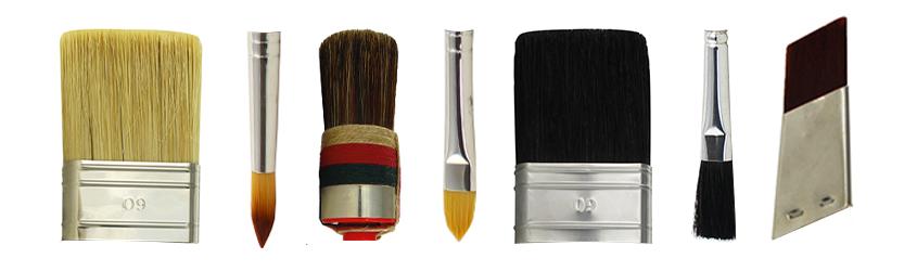 Pinsel-Bestandteil Kopf: Verschiedene Arten von Pinsel-Köpfen - flache und runde Köpfe in unterschiedlichen Größen