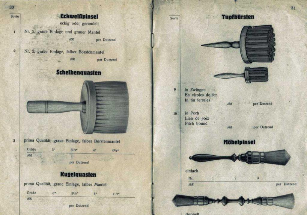 Seite aus altem eberPinsel-Katalog von 1928 mit Abbildungen: Eckweißpinsel, Scheibenquasten, Kugelquasten, Tupfbürsten und Möbelpinsel