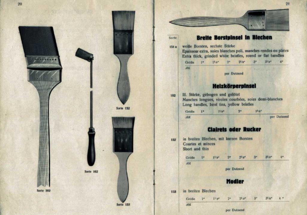 Seite aus altem eberPinsel-Katalog von 1928 mit Abbildungen: Breite Borstpinsel in Blechen, Heizkörperpinsel und mehr