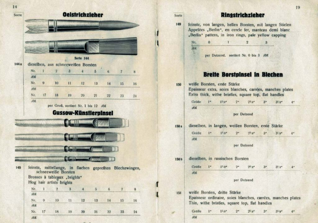 Seite aus altem eberPinsel-Katalog von 1928 mit Abbildungen: Oelstrichzieher, Gussow-Künstlerpinsel und Ringstrichzieher