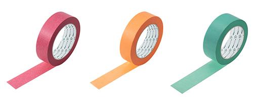 Washi-Tapes in rot, orange und blau für verschiedene Anwendungsbereiche